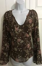 Gorgeous 2 Piece Brown Floral Chiffon Top Shirt MEDIUM w Tank Top