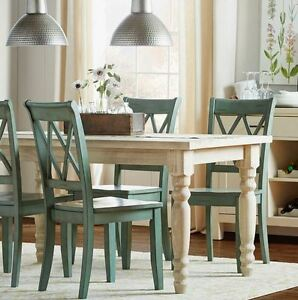 Farmhouse Dining Table Country Kitchen Dinette Wood Vintage Shabby Chic White
