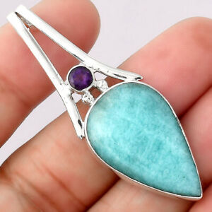 Natural Paraiba Amazonite and Amethyst 925 Sterling Silver Pendant Jewelry E402