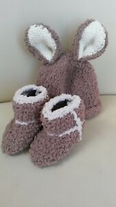 fluffy bunny baby hat with matching knitted fluffy bootees