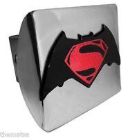 SUPERMAN RED S BATMAN EMBLEM SHINY CHROME METAL USA MADE TRAILER HITCH COVER