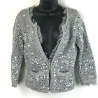 White House Black Market Womens Cardigan Sweater Gray Silver Sequins Ruffle xs