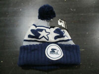 NEW VINTAGE Starter Beanie Hat Cap Navy Blue Gray Knit Spell Out Logo Men 90s A1