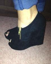 New Look Faux Suede Wedge Peep Toes Heels for Women