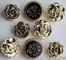Rosa Victoriana-Metallic Flor Vintage Boda Novedad Plástico Craft Botones