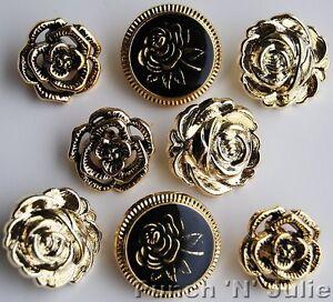 VICTORIAN ROSE - Metallic Flower Vintage Wedding Novelty Plastic Craft Buttons