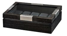 Volta Charcoal Wood Finish 10 Watch Box Compartment Case See Through Top Ten