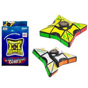 2 in 1 Fingertips Gyro Magic Rotating Cube Hand Finger Spinner Toy EDC Focus ABS