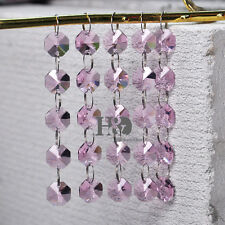5 String Pink Chandelier Crystal Prisms Lamp Octagon Chain Pendant 25 Beads 14mm