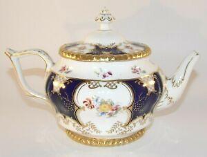 Antique Coalport Batwing Y3086 Blue Floral Gilded 1 Pint Teapot c1910