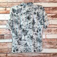 Men's Caribbean JoeHawiian Shirt Suze Med Cream W/ Tropical Print