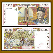 W.A.S West African States, Ivory Coast 10000 (10,000) Francs, 1999 P-114Ah (XF)