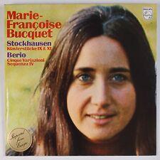MARIE-FRANCOISE BUCQET: Stockhausen, Berio Piano PHILIPS 6500 101 LP NM