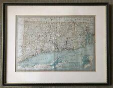 More details for antique map connecticut  rhode island usa copyright 1897 1902 framed j manley