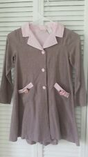 Little Bitty girls size 6X coat dress pink & brown, covered buttons, 100% cotton