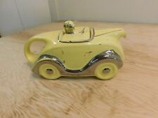 Vintage Art Deco Sadler Hot Rod Race Car Novelty Yellow Ceramic Figural Teapot