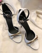 96fe849fc982 VERSACE WHITE ANKLE STRAP SANDAL OPEN TOE WITH GOLD CHAIN DETAIL HEELS SIZE  40