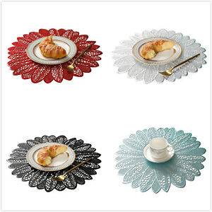 1/4Pcs Sun Flower Round Placemats Pressed Vinyl Hollow Placemats Table Mats 15in