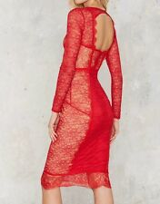 NastyGal Must be the Lace Midi Dress Red Nude  S Small * RARE!