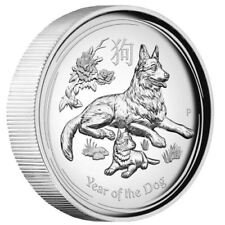 AUSTRALIAN 2018 Lunar Year of the Dog 1OZ $1 SILVER HIGH RELIEF COIN Australia