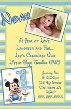 Mickey Mouse First 1st Birthday Invitations Yellow 8pk Personalized