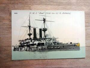 Old postcard HMS Hood navy battleship
