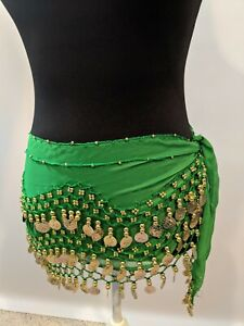 Belly Dance bellydance hipscarf coin scarf green chiffon with gold coins