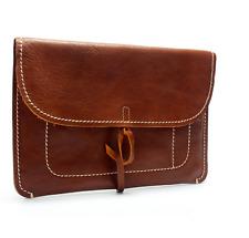 file Folder pocket cow Leather laptop bag Briefcase iPad Case pouch brown 800-1