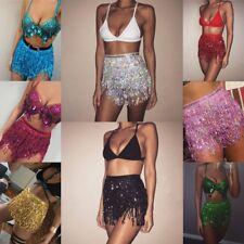 UK Women's Sequins Belly Dance Mini Dress Dancer Tassel Fringe Skirt Club Wear