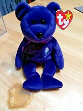 L👀K TY Beanie Baby PRINCESS DIANA Purple Teddy Bear 1997 RETIRED MINT CONDITION