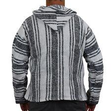 Mexican Baja Hoodie Surf Pullover Jacket White Unisex Size XXL Drug Rug