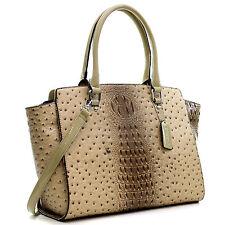 New Women Ostrich Leather Tote Briefcase Work Satchel Shoulder Bag Handbag Purse