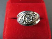 14k Solid White Gold Diamond Men's Ring Retro Design