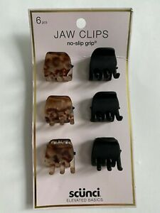 Scunci JAW CLIPS ( 6 pcs ) claw clip hold hair Women Girl Multi-Color Black NEW