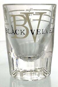 Vintage Black Velvet BV Whiskey Clear Glass Shot Cup Alcohol Advertising T685