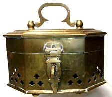 1970s Hinged Solid Brass Box from India