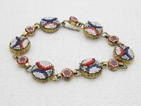 """Vintage Italy Gold Toned Filigree Micro Mosaic Floral Glass Bracelet - 6.75"""""""