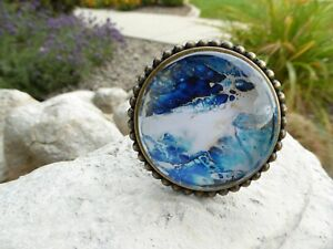 Large Brass w/ Glass Blue & White Ocean Waves Abstract Knob Drawer Pull  NEW