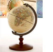 "Vintage Wood World Map Globe Decorative Desktop Rotating Geography Globe 5"""