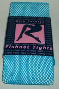 CATHY ROSE High Fashion Women's FISHNET TIGHTS One Size BLUE New On Card