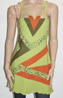 Bamboo's Designer Green Printed Cotton Summer Day Dress Size S/M BNWT #sL04