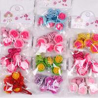 4 Pcs/set Kids Girls Hair Ropes BB Clips with Flower Princess Dress Decor LJ
