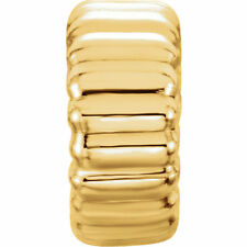 14K Solid Yellow Gold 4.0mm Corrugated Cut Roundel Beads 1.3mm Hole 5pc Rondelle