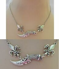 Silver Dagger & Fleur de Lis Strand Necklace Jewelry Handmade NEW Chain