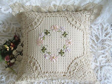 Pretty Hand Silk Ribbon Flower Embroidery Crochet Cotton Linen Cushion Cover