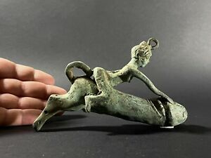LARGE ANCIENT ROMAN BRONZE WOMAN RIDING ERECT PHALLUS AMULET - CIRCA 200-300 AD