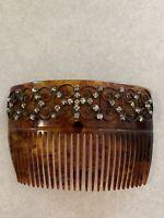 Beautiful Antique Edwardian Tortoise Rhinestone Celluloid Hair Comb