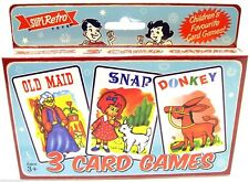 Retro Set Of 3 Card Games Playing Cards ~ Old Maid Snap Donkey