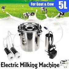 5l Portable Electric Milking Machine Tank Cattle Cow Milker Barrel Farm Engine