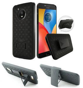 for Motorola moto G5 Phone Case Belt Holster 2 Kickstand Grip Grids Bump Cover
